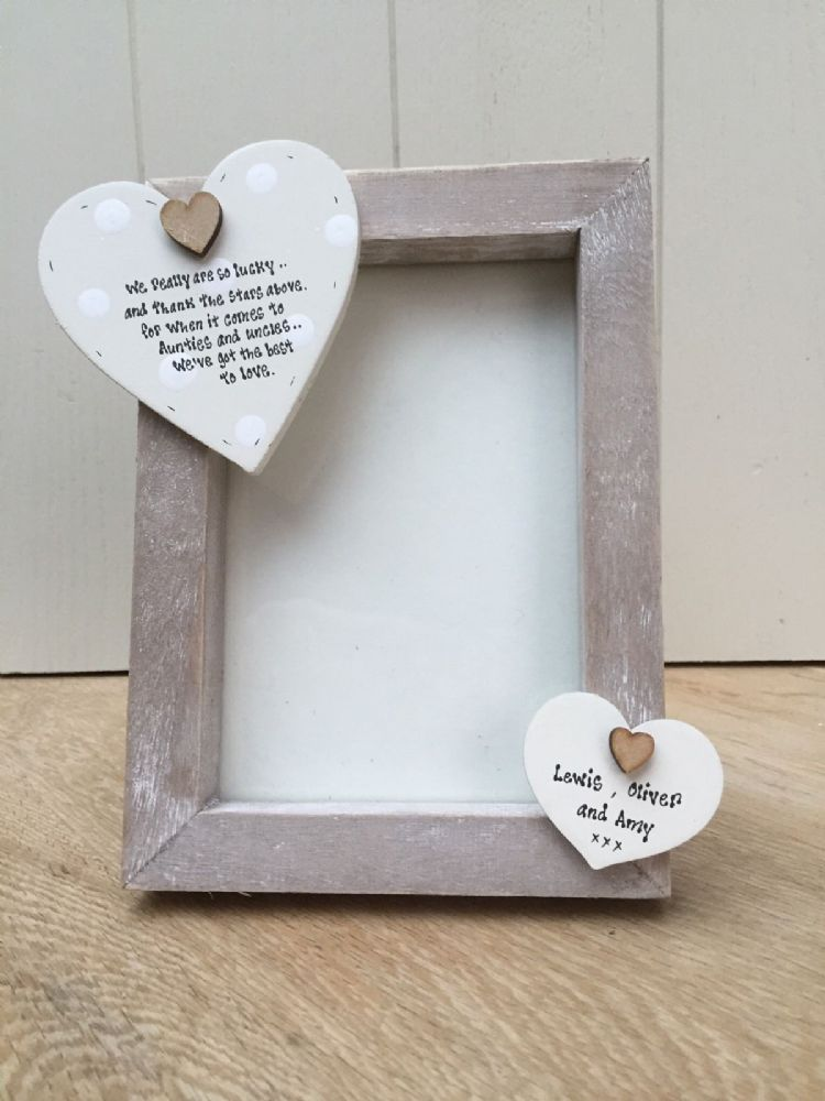Shabby personalised Chic Photo Frame Auntie Aunty Uncle Aunt Any ...